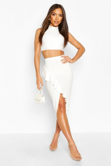 Cream Waterfall Crossover Midi Skirt