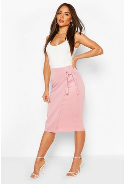 Blush Tie Front Midi Skirt With Eyelet Detail