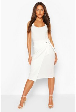 Cream Tie Front Midi Skirt With Eyelet Detail