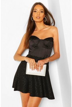 Black Embossed Animal Skater Skirt