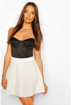 White Embossed Animal Skater Skirt