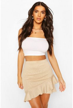 Camel Embossed Animal Ruffle Hem Mini Skirt