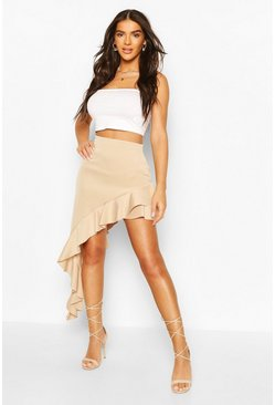 Camel Extreme Ruffle Waterfall Skirt