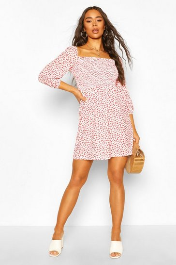 Red Shirred Front Ditsy Floral Puff Sleeve Dress