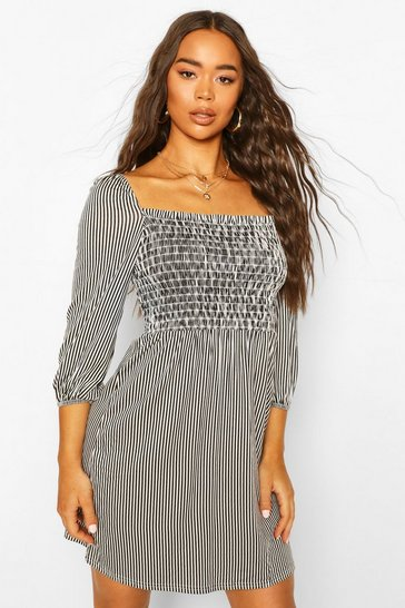 Black Shirred Front Striped Puff Sleeve Dress