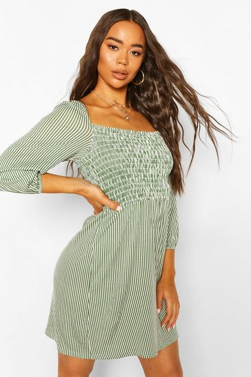 Green Shirred Front Striped Puff Sleeve Dress