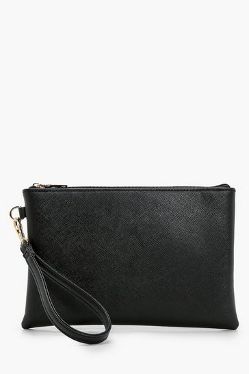 Black Cross Hatch Zip top Clutch Bag