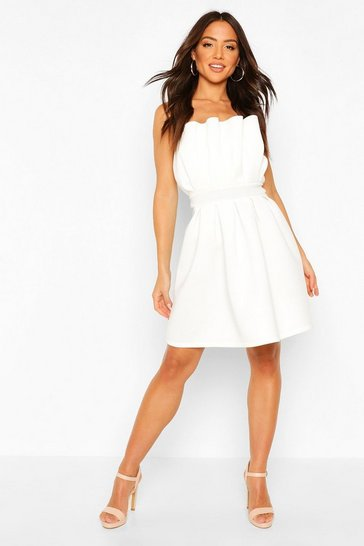 Ivory Structured Ruffle Skater Dress