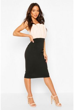 Nude Colour Block Pleated Top Bandeau Midi Dress