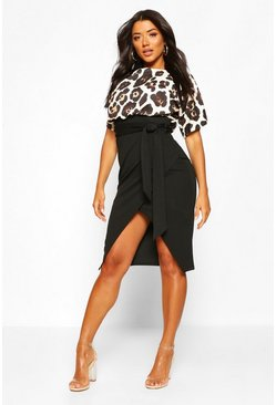 Leopard Contrast Tie Belted Midi Dress