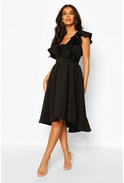 Black Ruffle One Shoulder Midi Skater Dress