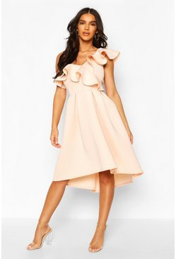 Blush Ruffle One Shoulder Midi Skater Dress