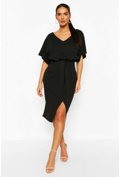 Black Kimono Tie Belt Midi Dress