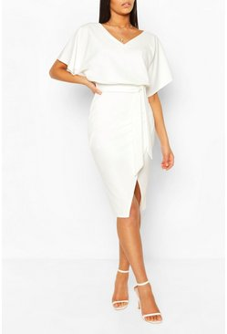 White Kimono Tie Belt Midi Dress