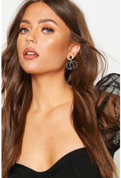 Black Double Ring Chain Detail Statement Earrings