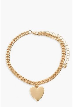 Gold Heart Charm Anklet