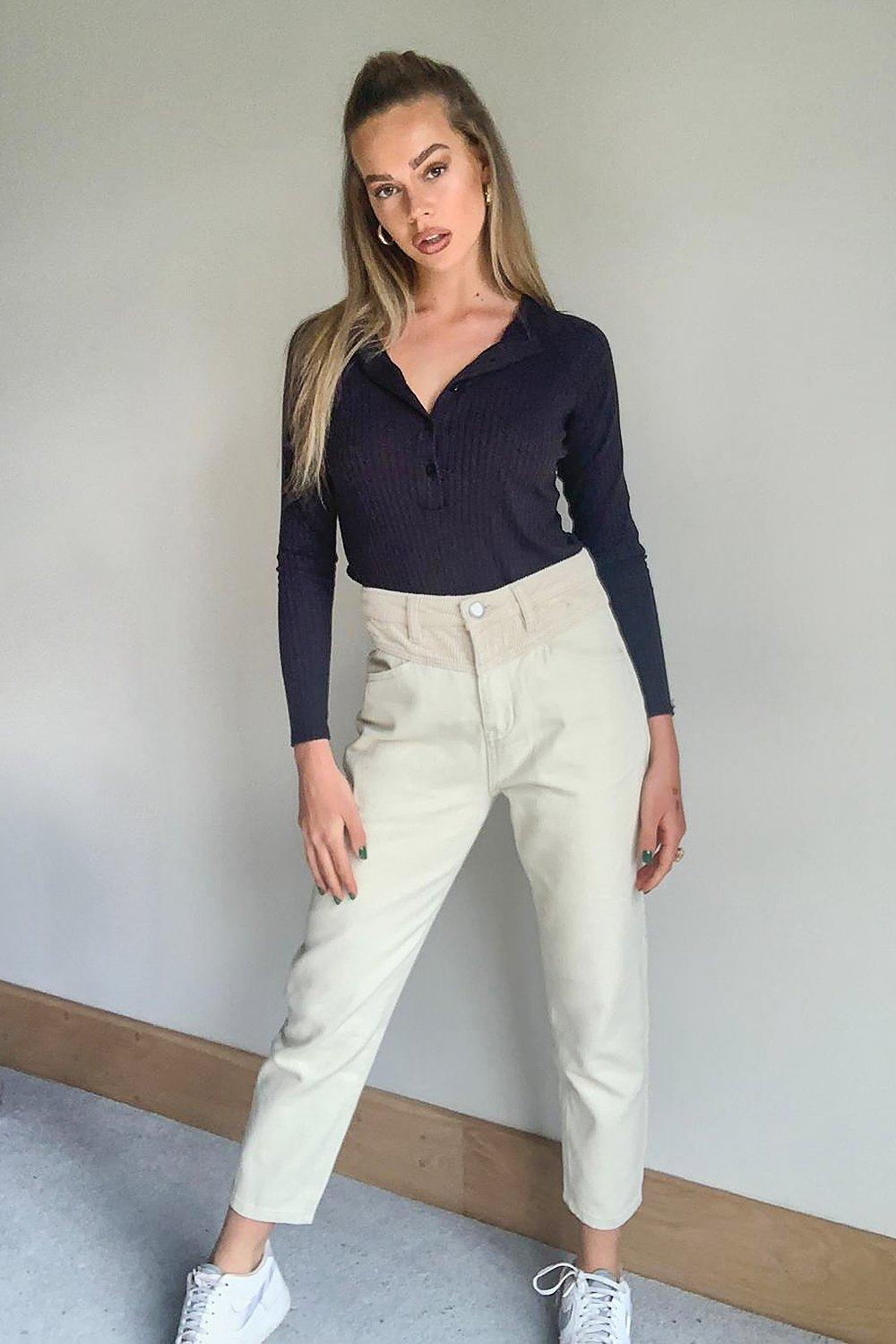 1980s Clothing, Fashion | 80s Style Clothes Womens High Rise Cord Constrast Mom Jean - Cream - 12 $20.00 AT vintagedancer.com
