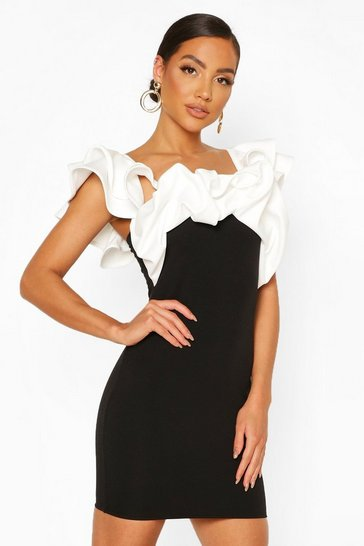 Black Contrast Extreme Ruffle Mini Dress