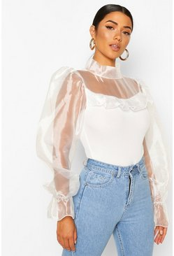 White Organza High Neck Frill Body