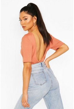 Tan Rib Scoop Back T-Shirt