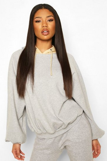 Grey Colour Block Panel Hoody