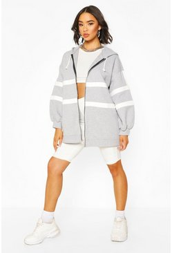 Grey Extreme Oversized Colour Block Hoody