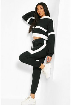 Black Stripe Detail Crop Hoodie & Jogger Set