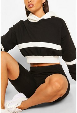 Black Blocked Cropped Hoodie