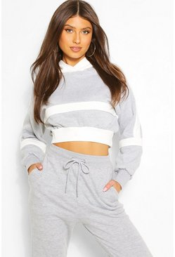 Grey Blocked Cropped Hoodie