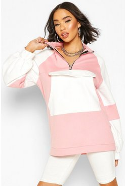 Sweat coupe oversize extreme colorblock, Rose