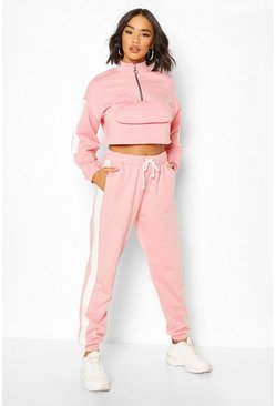 Pink Zip Front Crop Sweat & Jogger