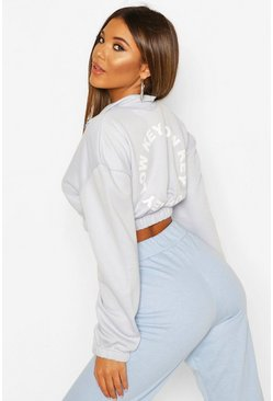 Blue Back Print Zip Neck Crop Sweatshirt