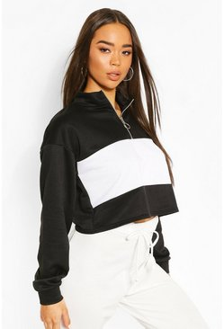 Black Colour Block Zip Neck Drawstring Crop Sweatshirt