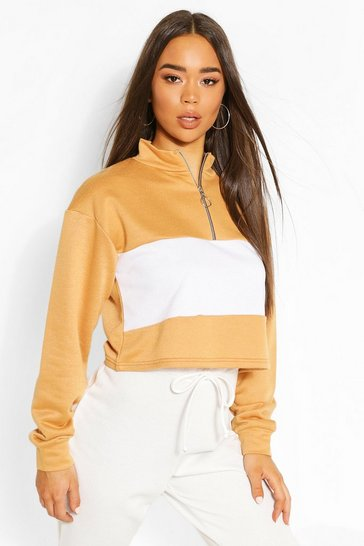 Camel Colour Block Zip Neck Drawstring Crop Sweatshirt
