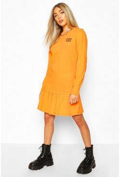 Orange Slogan Pleat Hem T-Shirt Dress