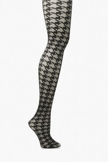 Black Dog Tooth Print Tights