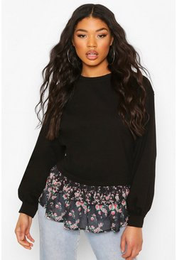 Black Printed Frill Sweater