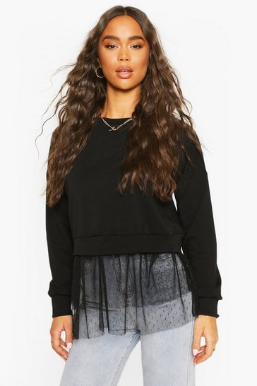 Black Dobby Mesh Frill 2-In-1 Sweat Top