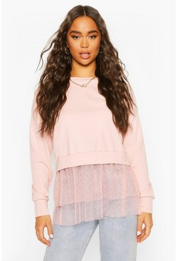 Blush Dobby Mesh Frill 2-In-1 Sweat Top