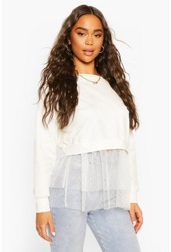 White Dobby Mesh Frill 2-In-1 Sweat Top