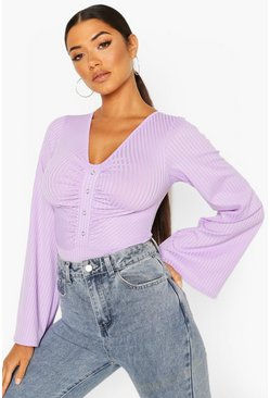 Lilac Ribbed Popper Flare Sleeve Bodysuit