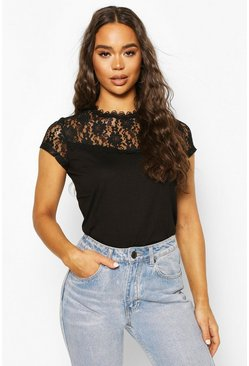 Black Lace Panel T-Shirt Top