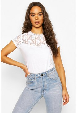 White Lace Panel T-Shirt Top