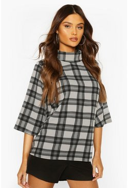 Black Check Puff Shoulder Roll Neck Swing Top