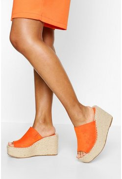 Orange Espadrille Mule Wedges