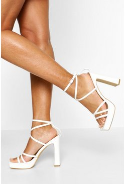 White Multi Strap Block Heels