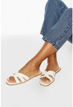 White Wide Fit Cross Strap Sliders