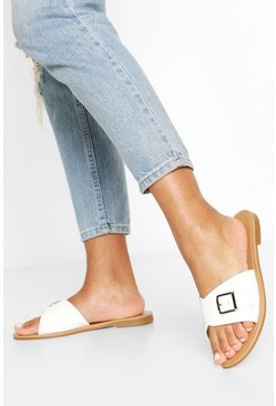 White Wide Fit Buckle Detail Sliders