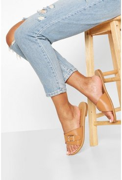 Tan Wide Fit Buckle Detail Sliders