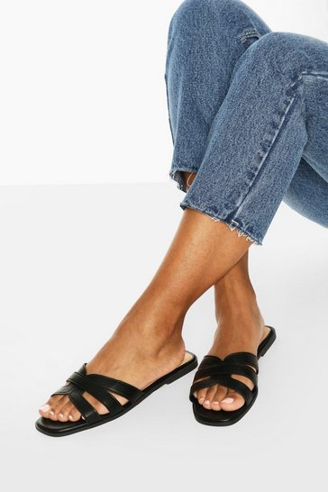 Black Wide Fit Cross Strap Sliders